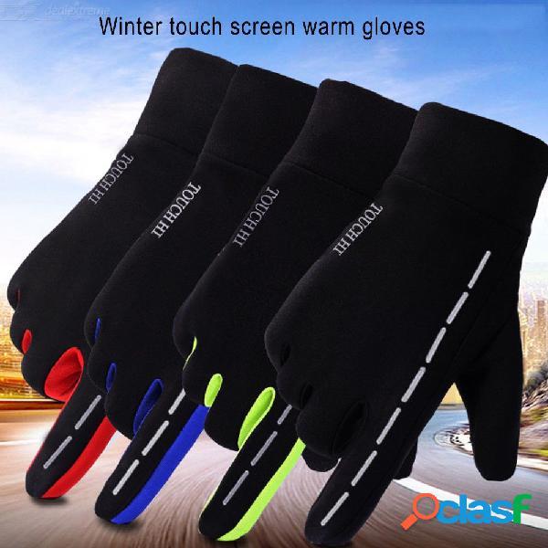 Invierno cálido bicicleta a prueba de viento motocicleta guantes de montar a prueba de agua resistencia al deslizamiento completo dedo guantes de ciclismo