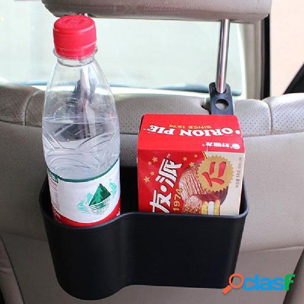 Multi-función del reposacabezas del coche asiento trasero montaje organizador bebida portavasos caja de almacenamiento interior negro