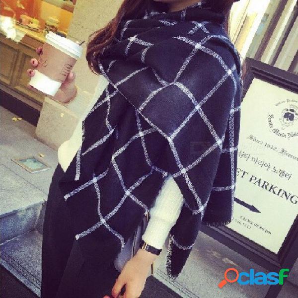Tamaño 200 * 85cm estilo cashmere mantón grande suave & envoltura pesada bufanda & plaid blanco y negro para mujer skyour ksyoocur negro