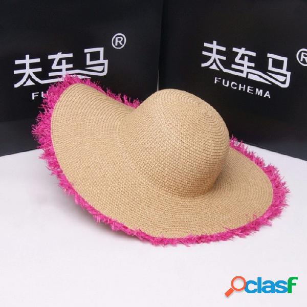 Verano señoras sombreros de sol rebabas sombreros de paja mujeres protector solar playa vacaciones borde ancho playa tapa negro