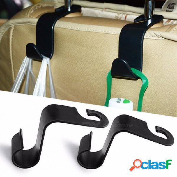 Asiento universal para automóvil respaldo en forma de s organizador de ganchos para colgar, reposacabezas automático, gancho de almacenamiento para almacenamiento interior de automóvil, negro
