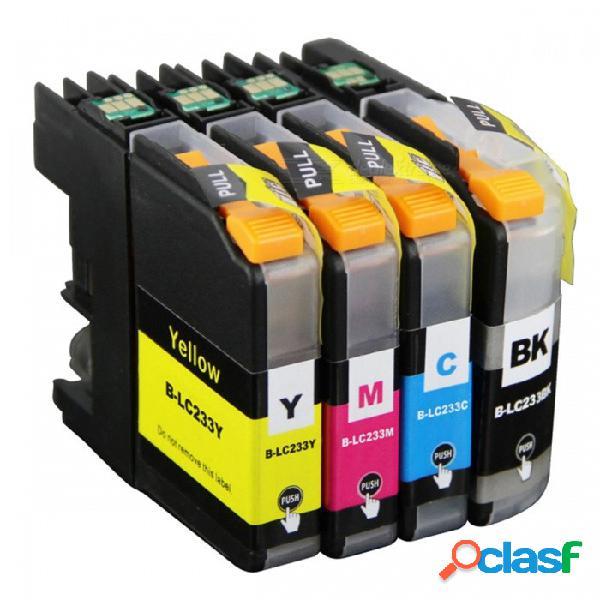 Chip de tinta lc233 lc231 de 4pk, reinicio compatible con la impresora brother dcp-j562dw mfc-j480dw j680dw j880dw