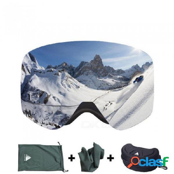 Gafas de esquí con el caso doble lente uv400 esquí antivaho gafas de nieve esquiar hombres mujeres invierno gafas de snowboard hb108 rojo