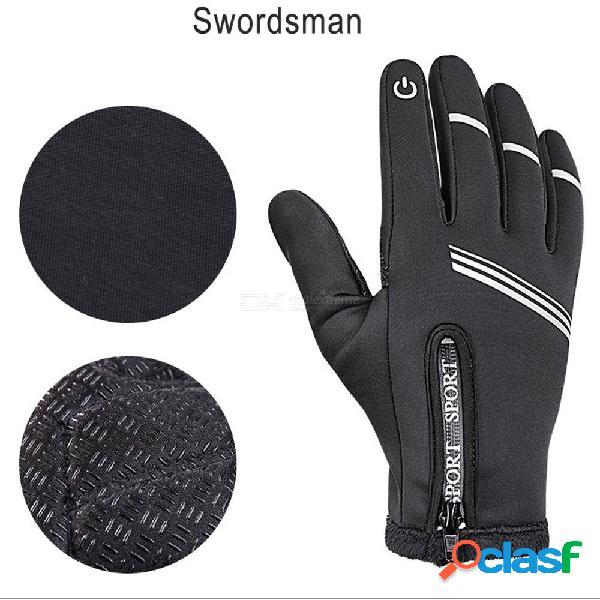 Guantes de ciclismo de motocicleta de invierno para hombre a prueba de viento y esquí a prueba de viento, pantalla táctil pu, dedo completo, guantes de ciclismo