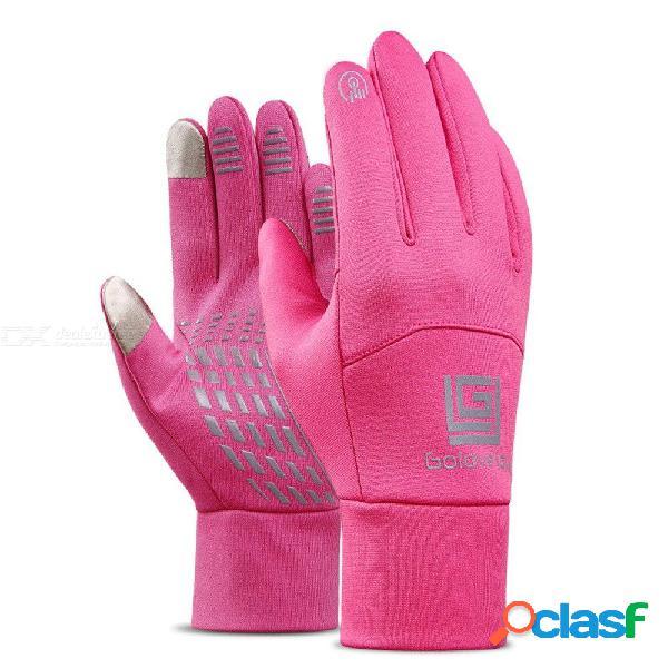 Invierno cálido a prueba de viento bicicleta mujeres motocicleta guantes de montar a prueba de agua pantalla táctil completo dedo guantes de ciclismo