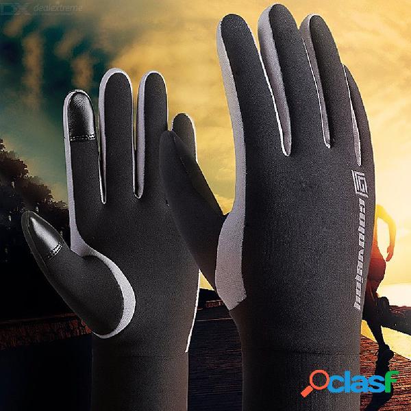 Invierno impermeable vellón hombres guantes de esquí pantalla táctil caliente exterior dedo completo ciclismo guantes de snowboard