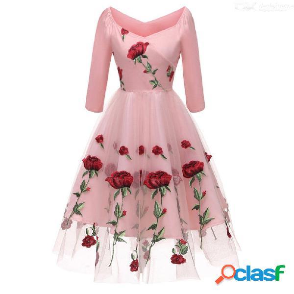 Moda con cuello en v vestido bordado de la vendimia de malla de impresión tres cuartos vestidos para las mujeres