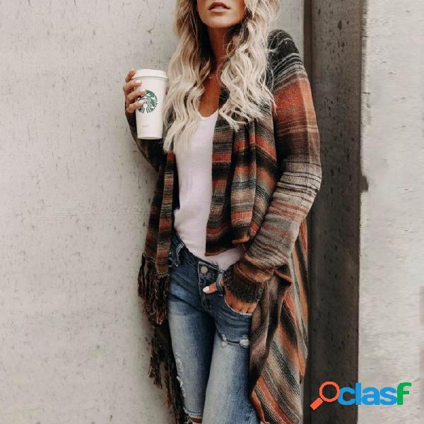 Otoño invierno rayas para mujer cardigan suelta manga larga doble desgaste borla moda suéter de punto irregular dobladillo gris / s
