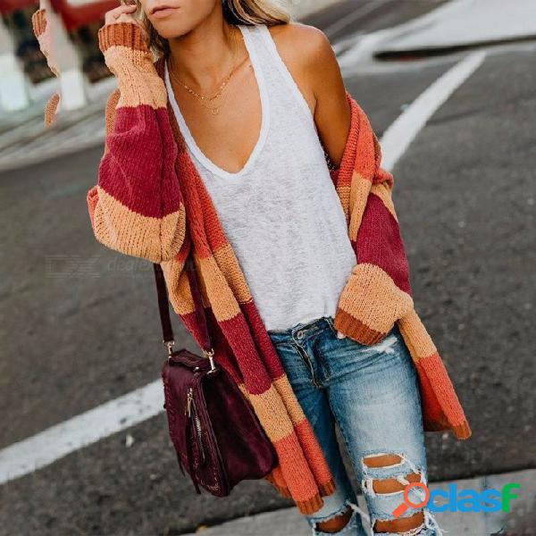 Otoño invierno suelto arco iris a rayas de punto cardigan suéter, suéter largo informal para niñas multi / s