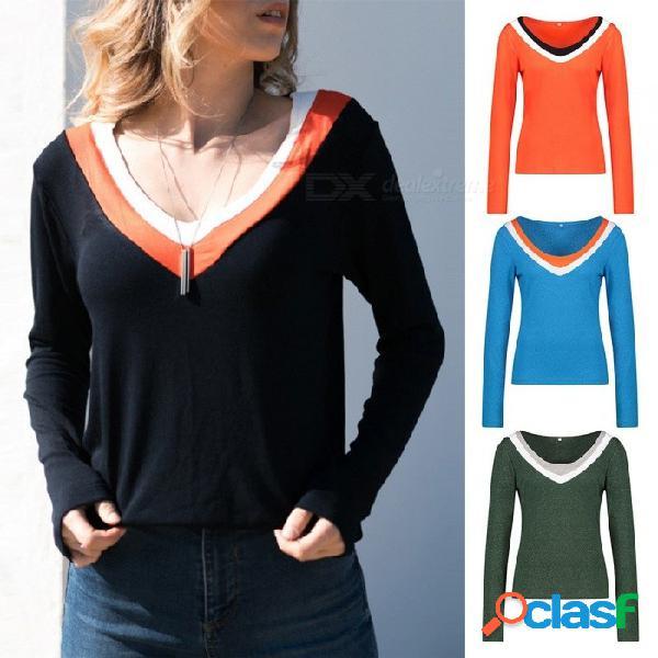 Otoño nuevas camisetas casual patchwork v-cuello delgado manga larga camisa tejida para mujeres negro / s