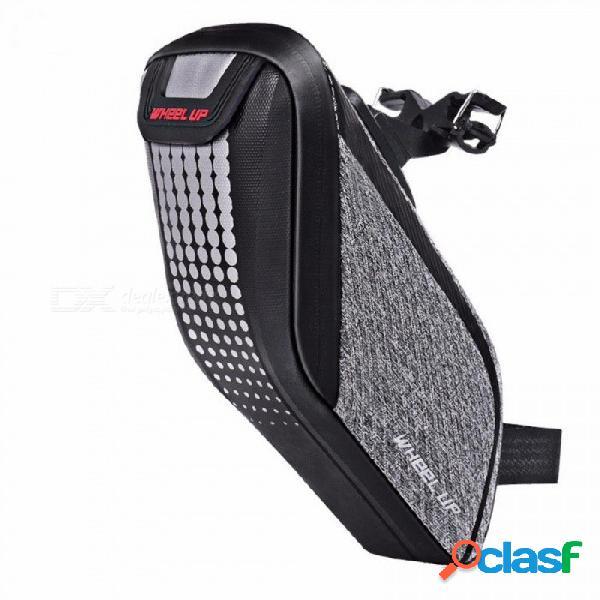 Rueda hacia arriba bolsa impermeable de bicicleta bolsa de sillín de bicicleta de cáscara 3d bolsa de tija de sillín reflectante a prueba de golpes ciclismo trasero gris oscuro