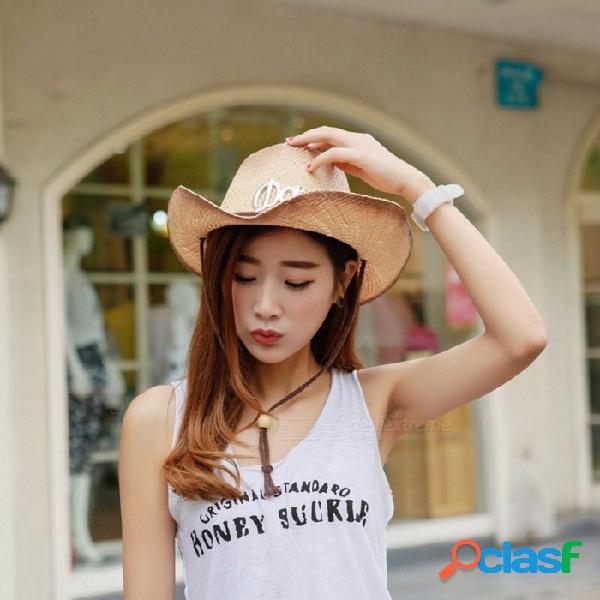 Sombrero de vaquero casual de verano con estilo para mujeres gorro de paja sombrero de ala ancha para vacaciones de playa viaje marrón