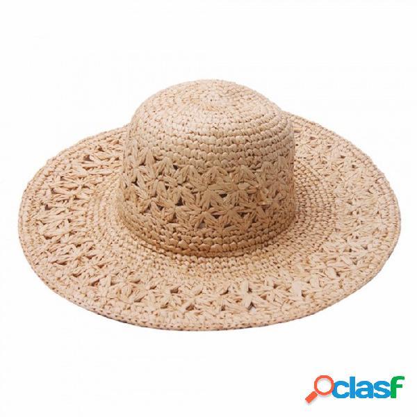 Sombrero hecho a mano casual elegante del ganchillo del verano para las mujeres, sombrero de paja de la rafia sombrero ancho del sol del borde para el viaje de vacaciones de la playa de color