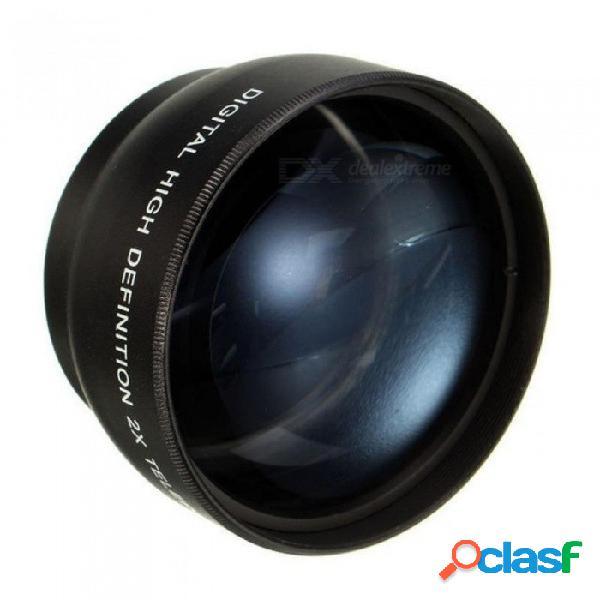 Teleobjetivo de cámara 2x de 52mm para nikon d7100 d5200 d5100 d3100 d90 d60 y otros objetivos de cámara dslr con rosca de filtro de 52mm negro