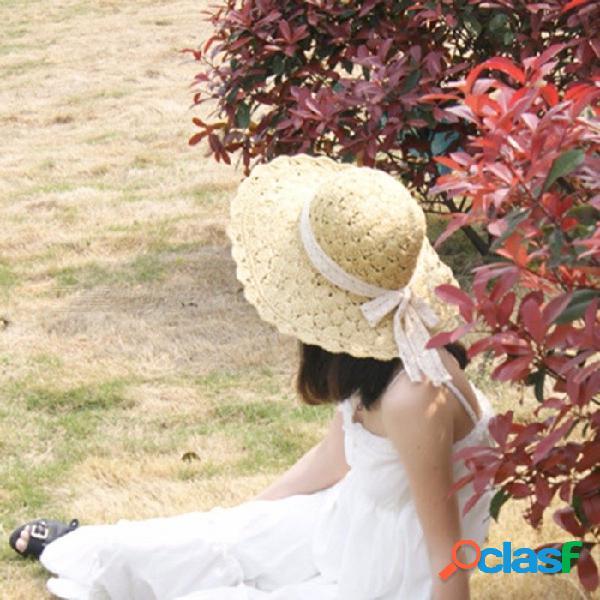 Verano casual ahueca hacia fuera la correa del cordón sombreros del sol de la paja para las mujeres sombrero de la playa de ala ancha sombrero de viaje de vacaciones sombreros gorras de color