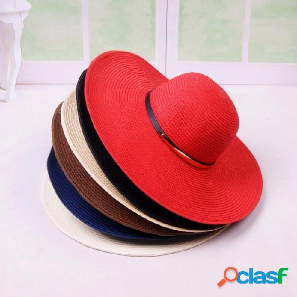 Verano casual señoras sombrero de sol sombreros de paja para las mujeres protector solar vacaciones de playa de ala ancha gorra de playa blanco