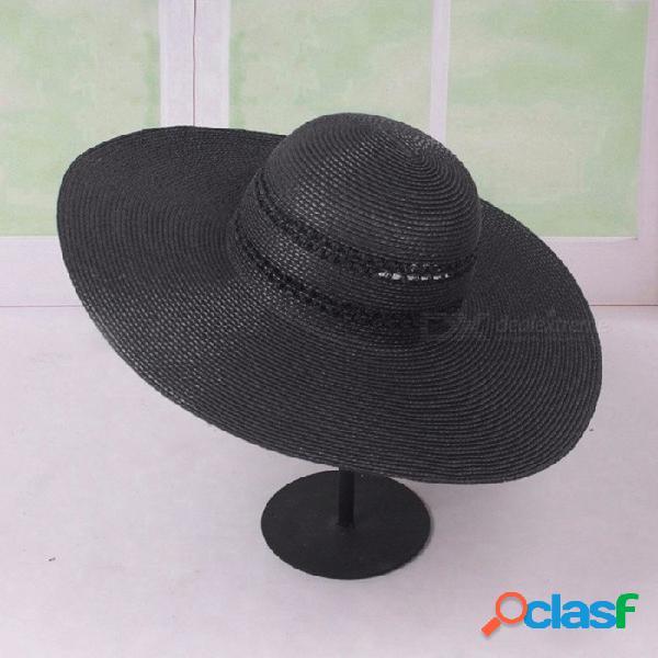 Verano color sólido señoras sombreros de sol sombreros de paja para las mujeres protector solar vacaciones de playa de borde ancho playa negro