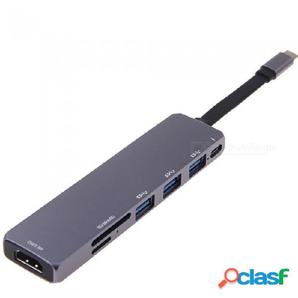 Adaptador de hub usb-c a hdmi 4k con 3 puertos usb3.0 + usb3.1 (pd) + sd / función de lector de tarjetas micro sd