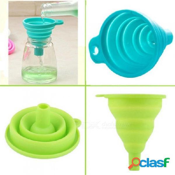 Categoría alimenticia 1 unidades mini gel de silicona plegable plegable estilo embudo tolva jardín de cocina accesorios de cocina herramientas rojo