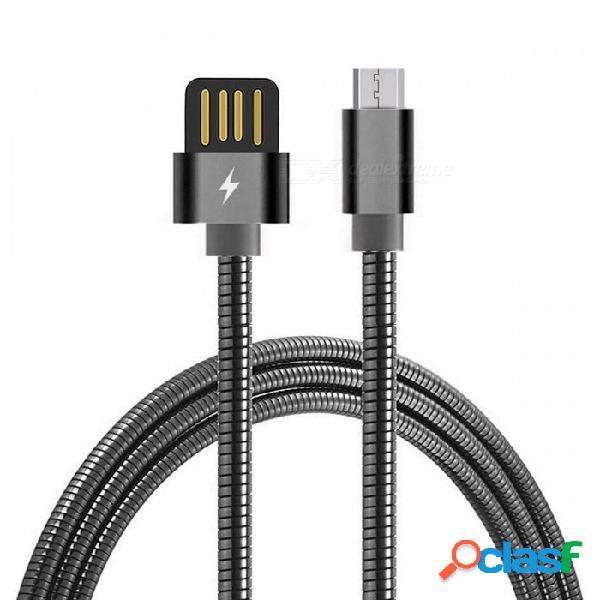 Cwxuan resorte de acero inoxidable cable de datos de carga rápida micro usb para xiaomi, huawei, htc - negro