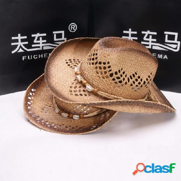 Elegante verano unisex ahuecar cuentas sombrero de vaquero para mujeres hombres paja sombrero de sol de ala rizada para vacaciones en la playa viajes marrón
