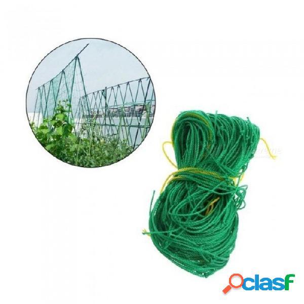 Jardín verde enrejado de nylon soporte de red trepadores de plantas de frijol trepador crecen cerca con color verde 0.9 * 1.8m verde
