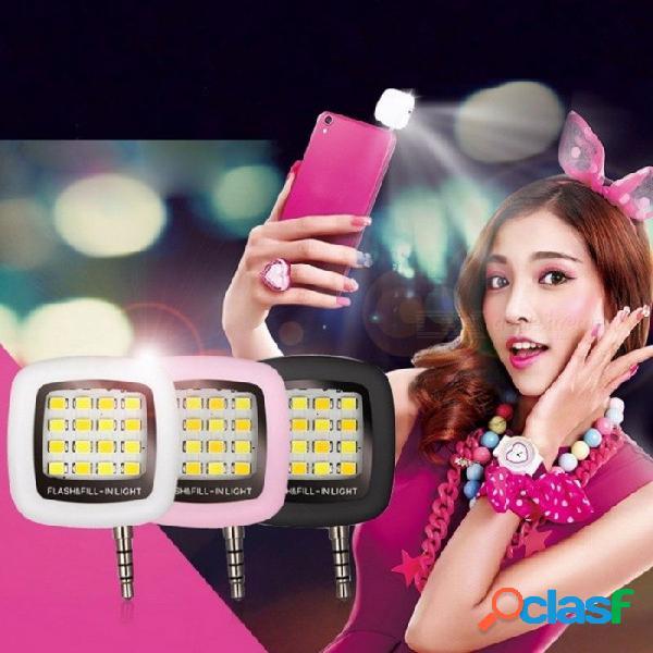 Mini portátil recargable 16-led selfie flash led lámpara de la cámara para iphone 6 6s samsung htc lg xiaomi teléfonos móviles negro