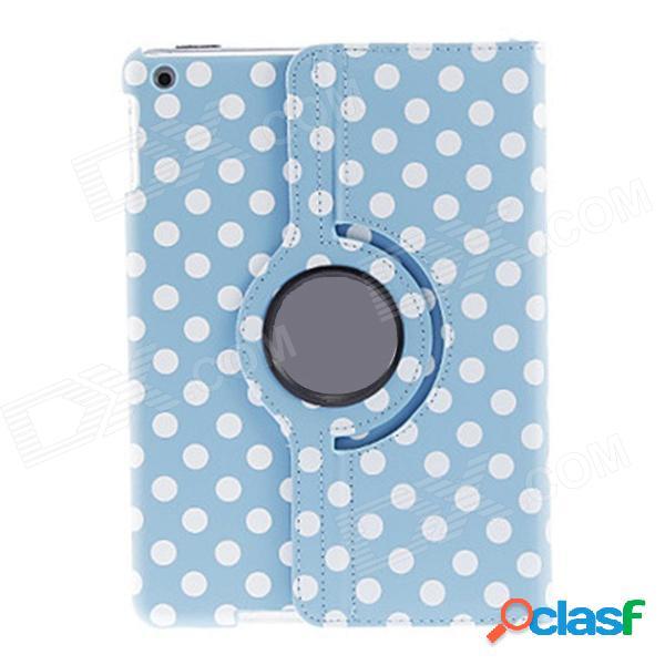 Patrón de puntos redondos kinston 360 grados rotación pu cubierta de la caja de cuero para ipad air - azul cielo