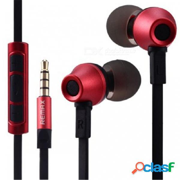 Remax 610d ios v8 auriculares de alta fidelidad en estéreo de 3,5 mm con cable de alta fidelidad - rojo