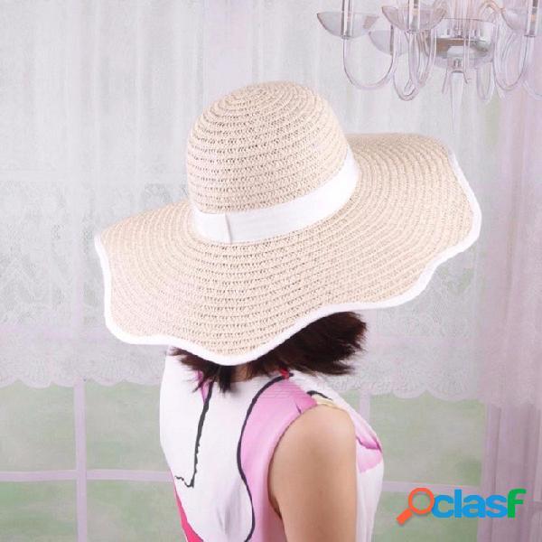 Sombrero casual de verano elegante para mujeres gorro de paja con forma de pétalo sombrero de ala ancha para vacaciones de playa negro
