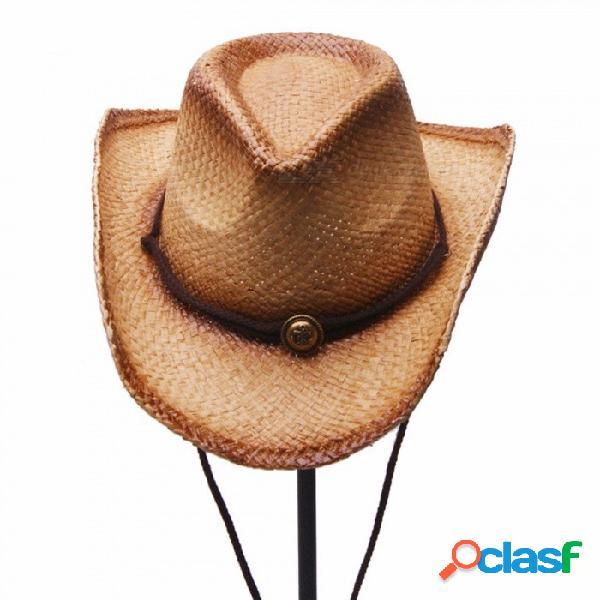 Sombrero de vaquero unisex casual de verano elegante para mujeres sombrero de paja de rafia masculina para viaje de vacaciones de playa marrón