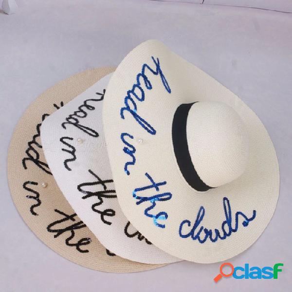 Sombrero de verano de las letras de lentejuelas ocasionales con estilo floppy para mujeres gorro de paja sombrero de ala ancha para vacaciones de playa blanco