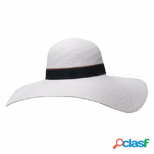 Sombrero flexible de la moda del verano con estilo para mujeres sombrero de ala ancha de paja para el viaje de vacaciones de playa blanco