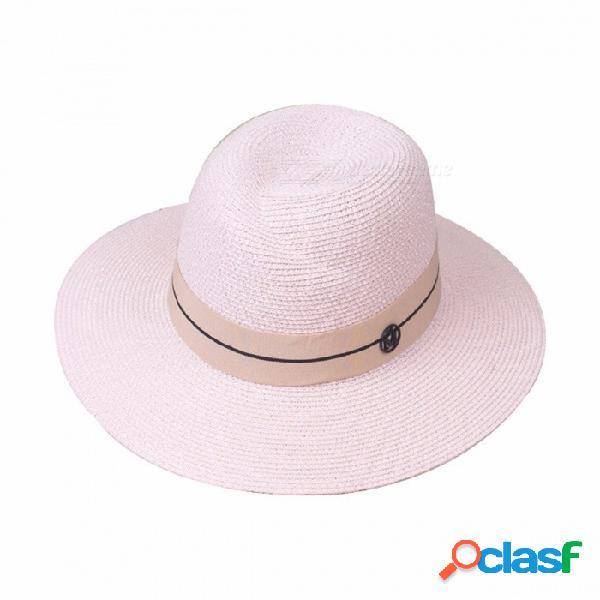 Sombrero plegable casual de verano elegante para mujeres gorro de paja sombrero de ala ancha para vacaciones de playa viaje beige rosa