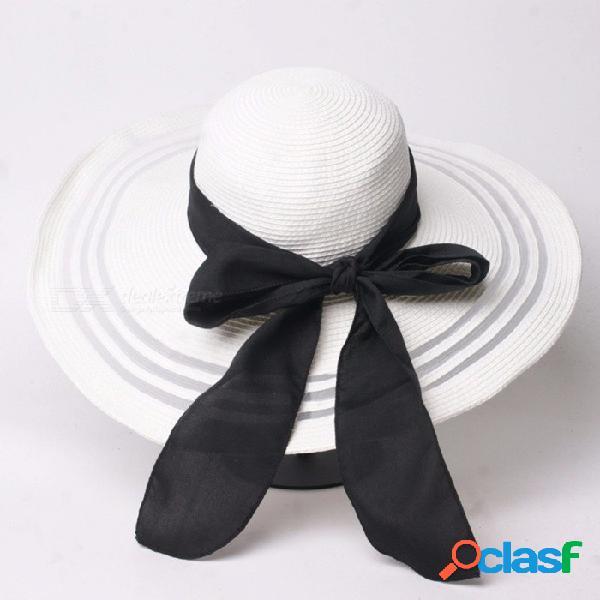 Verano elegante gasa de malla casual parche sombrero de paja para mujer bowknot correa de ala ancha sombrero para el sol vacaciones de playa blanco