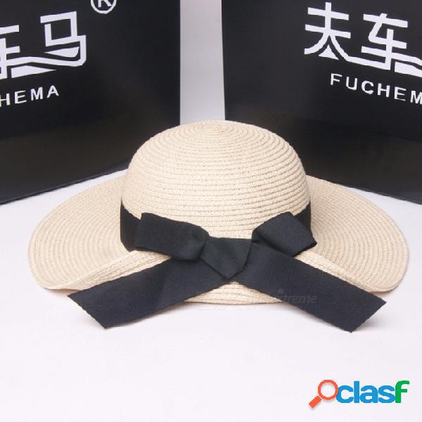 Verano elegante sombrero de bowknot casual para mujer sombrero de ala de ala ancha para el viaje de vacaciones en la playa de color caqui