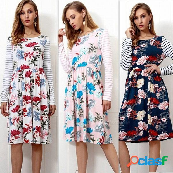 Vestido estampado de rayas de manga larga con estampado de flores en otoño vestido casual hasta la rodilla con cintura alta y bolsillos para mujeres rosa / s
