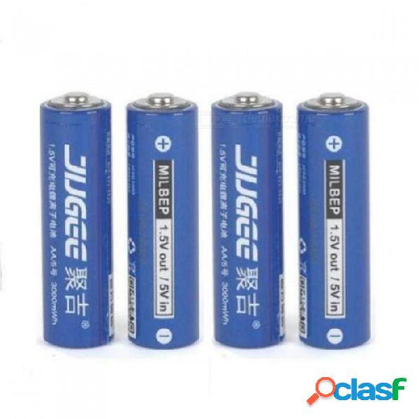 1.5v 3000mwh baterías aa de iones de litio cargador de baterías recargables de litio-polímero de litio-litio aa, 4 pcs
