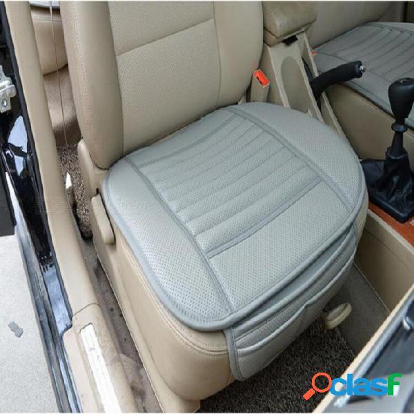 2 unids transpirable cubierta del asiento del coche interior cojín cojín estera para suministros de auto silla de oficina con pu cuero carbón de bambú