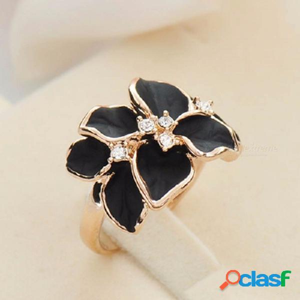 Anillo de camelia de color blanco vintage de alta calidad anillos de cristales austriacos para mujeres blanco