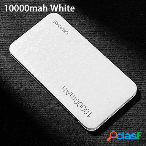 Banco de potencia usams estilo mosaico ultra delgado 10000mah con puertos usb duales para iphone, xiaomi, samsung - blanco