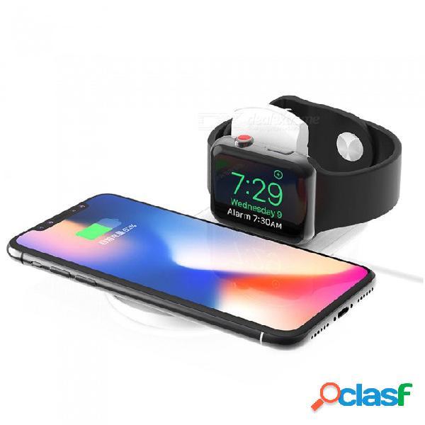 Cargador inalámbrico qi rápido 2 en 1 para iphone x / 8 más / xs max / serie de relojes de manzana 4/3 / 2