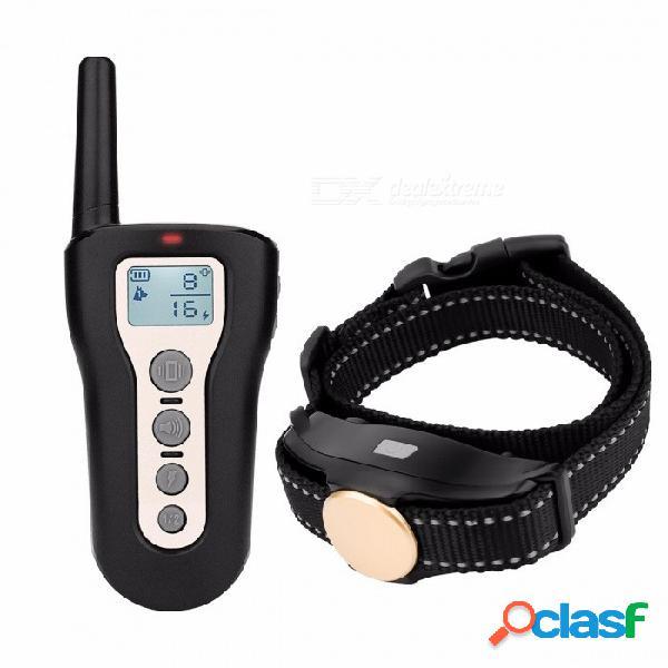 Collar de entrenamiento de perro mascota collar de entrenamiento de vibración perro resistente al agua con pantalla lcd blanca, control remoto negro