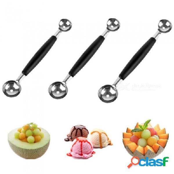 Cuchara de fruta multifunción de doble extremo cuchara de helado de fruta de melón de acero inoxidable negro