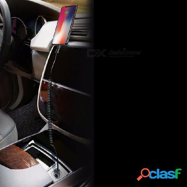 Nuevo coche 4.8a dual usb + spring line cargador de coche rápido adaptador de cargador portátil inteligente para iphone negro