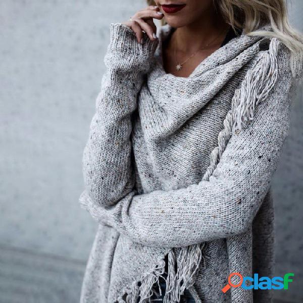 Otoño cardigan manga larga suéter de gran tamaño dobladillo suelto suéteres de borla para las mujeres gris / s