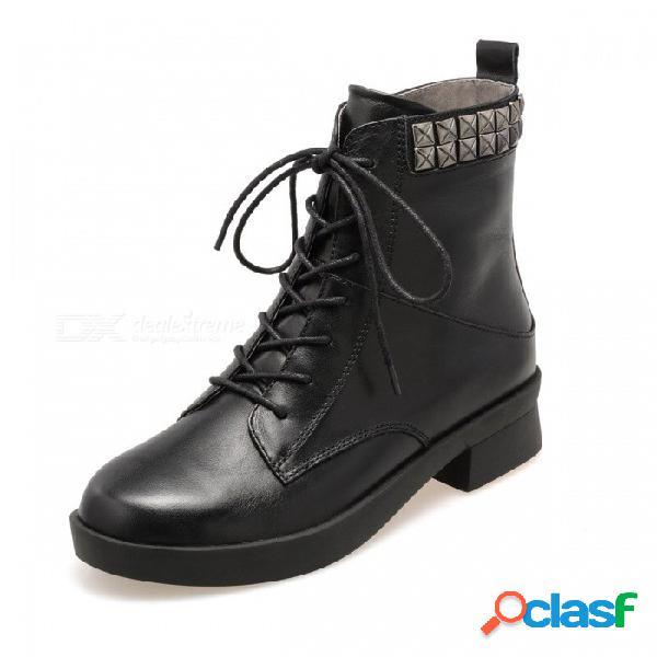 Otoño invierno nuevos zapatos de cuero genuino color sólido punta redonda con cordones de cremallera botas occidentales para mujer negro / 34