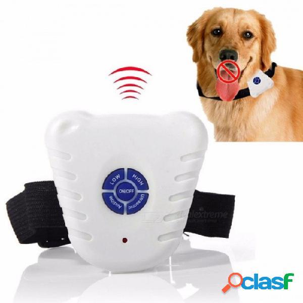 perro a prueba de agua para ladrar collar de control botón de entrenamiento botón clicker ajustable perro ultrasónico contra collar de corteza blanco