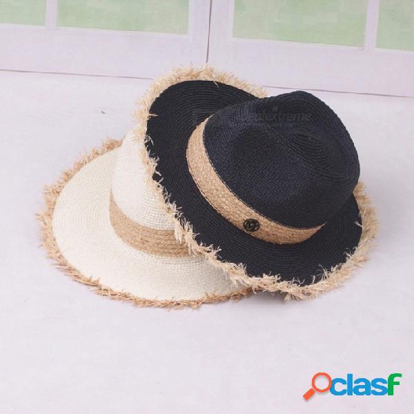 Sombrero de verano casual elegante para mujeres sombrero de paja de ancho borde de paja de rafia color contraste para viajes de vacaciones en la playa blanco