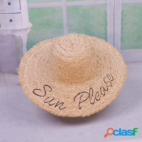 Verano elegante letras bordadas casuales sombrero de disquete para las mujeres sombrero de paja de ala ancha para vacaciones de playa verde musgo